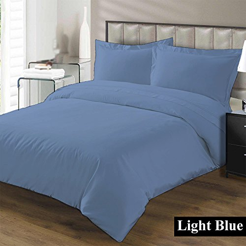 Premium Duvet Cover with Zipper Closer 100% Egyptian Cotton 600 Thread Count Luxurious, Durable and Hypoallergenic Ultra Soft Breathable By Kotton Culture ( California King/King, Light Blue (Flannel Mini Comforter Set)