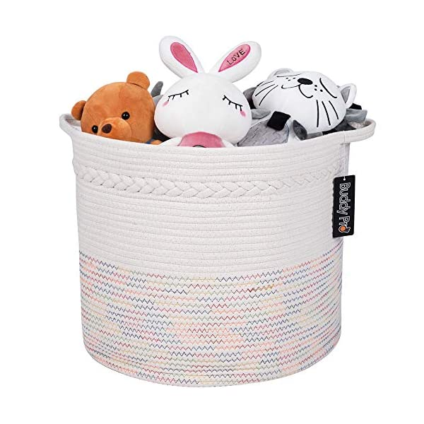 Baby Toy Basket,Laundry Basket,Blanket Basket 17″ X 15″ – Nursery Hamper,Cotton Rope Storage Basket,Off White Decorative Woven Storage Basket with Handle for Pillows, Kids Living Room by Buddy Pro