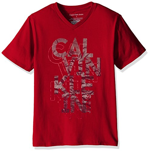 Price comparison product image Calvin Klein Little Boys Gridiron Vneck Tee Shirt, Red, x6