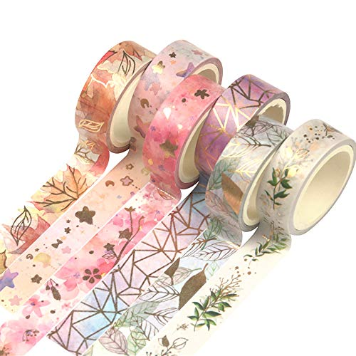 Yubbaex Gold Washi Tape Set VSCO Foil Masking Tape Decorative for Arts, DIY Crafts, Bullet Journal Supplies, Planners, Scrapbook, Card/Gift Wrapping -6 Rolls x 15mm- (Fromantic)