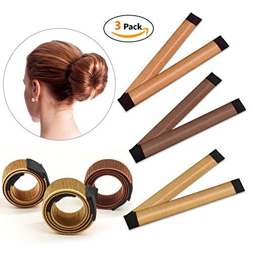 3 PCS Hair Styling Donut Bun Maker Tool, Hair Band Accessory, Hair Bun Shapers Curler Roller for Women Girls DIY Hairstyle Tools