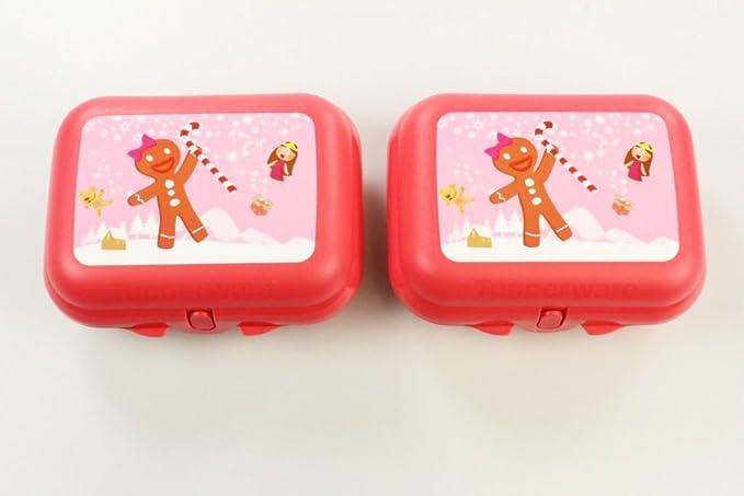 TUPPERWARE Ostriche Contenitore Snack arancione rosso motivo di pan di zenzero