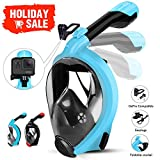 HENGBIRD Snorkel Mask with Detachable Camera Mount, Foldable Easybreath Full Face Scuba Mask Snorkeling Mask with 180° Panoramic View Anti-Fog Anti-Leak