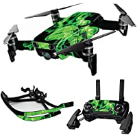 MightySkins Skin for DJI Mavic Air Drone - Green Flames | Max Combo Protective, Durable, and Unique Vinyl Decal wrap cover | Easy To Apply, Remove, and Change Styles | Made in the USA