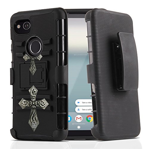 Gothic Display (Google Pixel 2 XL Case, Trishield Gear Durable Hybrid Rugged Armor Black Hard Shell Inner Silicone Phone Cover With Kickstand Belt Clip Holster For Pixel 2 XL (6