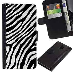All Phone Most Case / Oferta Especial Cáscara Funda de cuero Monedero Cubierta de proteccion Caso / Wallet Case for Samsung Galaxy Note 3 III // Black White Stripes Lines Africa