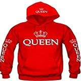 Meolin King & Queen Matching Couple Sweatshirt Hoodies with Cat Pouch,Female red QUEEN,XL