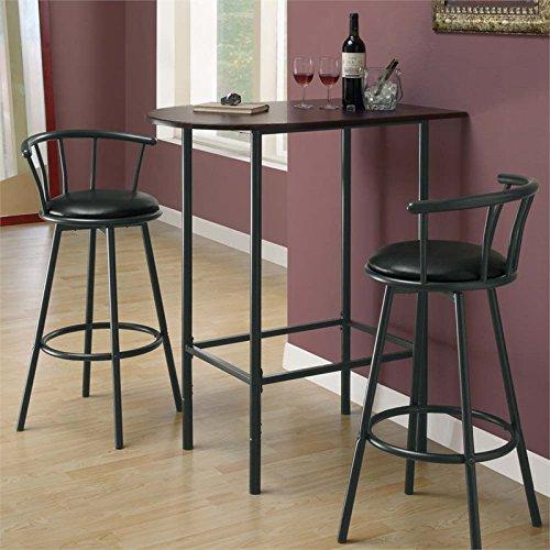 Monarch Specialties Metal Space Saver Bar Table, 24 by 36-Inch, Cappuccino/Black by Monarch Specialties (Image #1)