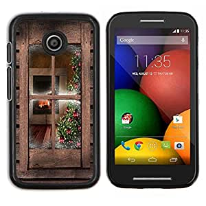 Stuss Case / Funda Carcasa protectora - Ventana rústica de madera de Brown País - Motorola Moto E ( 1st Generation )