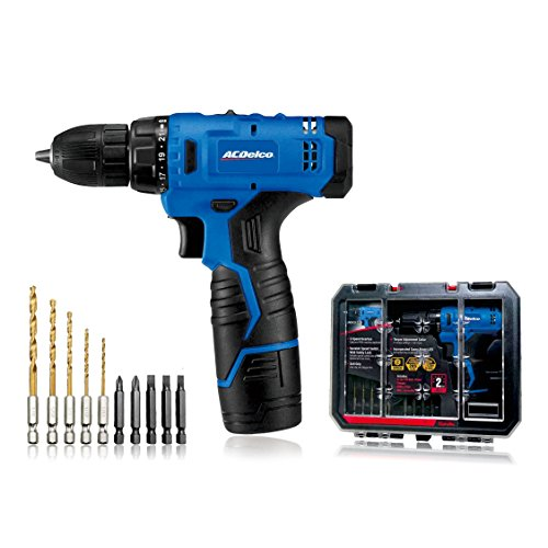 "ACDelco ARD12126S1 12V Lithium-Ion Cordless 2-Speed 3/8"" Drill Driver Kit (10 Bits, Battery, Charger, Tool case)"