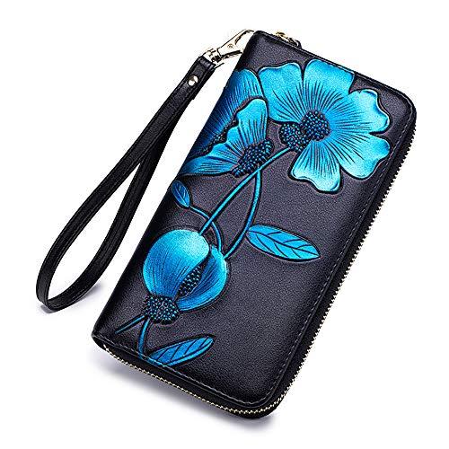 Hidden Wristlet - Lady Wallets, Leather Hand Painted Flowers Purse RFID Wristlet Wallet For Women (women wallet 101 grey)