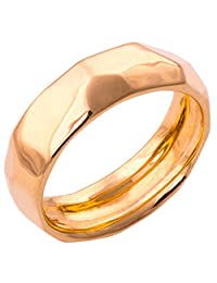 Solid Gold Hammered Wedding Band Set His and Hers Ring 6mm Wide
