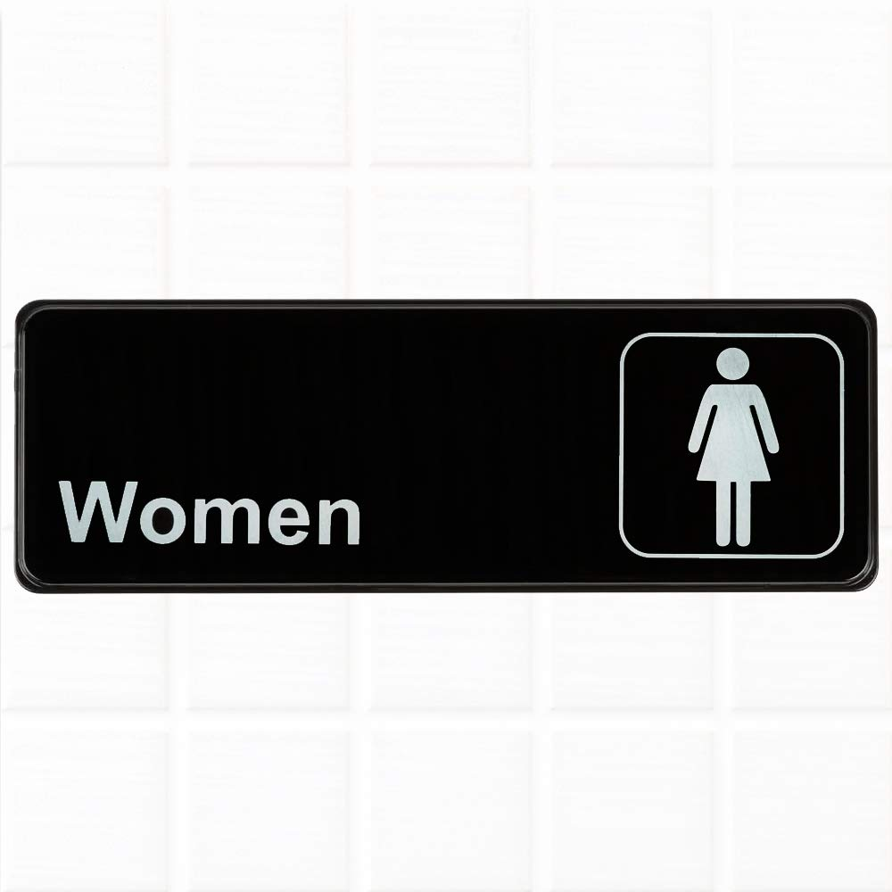 Women restroom sign black and white 9 x 3 inches womens bathroom sign restroom signs for door wall by tezzorio amazon com industrial scientific