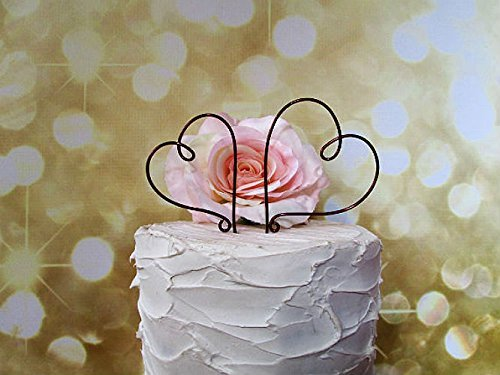2 Hearts Wedding Cake Topper in Oxidized Copper Wire Finish, Wedding Cake Decoration by AntoArts