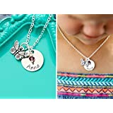 """Personalized Butterfly Necklace – DII AAA - Easter Gift Basket - Little Girls Jewelry – Handstamped Handmade – 5/8"""" 15MM Silver Disc – Choose Birthstone Color – Custom Name – 1 Day Shipping"""