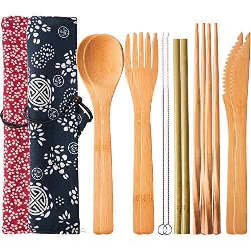 2 Sets Wiederverwendbarer Bambus Utensilien Reise Besteck Set mit Etui, Gabeln Messer Essstäbchen Löffel Strohhalme und…
