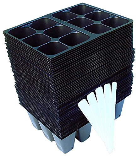 720 Cells Seedling Starter Trays for Seed Germination 5 Plant Labels 120, 6-Cell Trays
