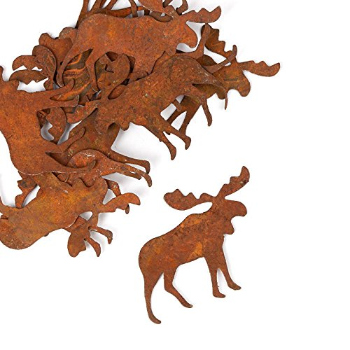 (Factory Direct Craft Package of Flat Back Rusted Tin Moose Cutouts for Indoor or Outdoor Decor - 24)