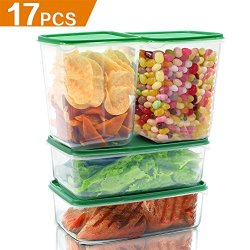 [17 Pack] Food Storage Container with Lids Set- Food Prep Containers Savers with Vacuum Sealer Storage Bags - Durable PP Plastic - Clear Plastic for Kitchen Use [Mixed Sizes]