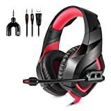 Gaming Headset with Microphone for All-Platform, PC, PlayStation 4, Nintendo Switch, VR, Android and iOS - Red