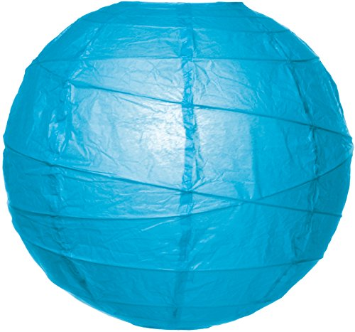 Cultural Intrigue Luna Bazaar Premium Paper Lantern, Lamp Shade (8-Inch, Free-Style Ribbed, Turquoise Blue) - Rice Paper Chinese/Japanese Hanging Decoration - For Home Decor, Parties, and Weddings Turquoise Rice