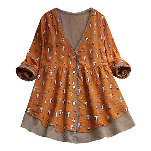 Cotton Linen Shirt,Womens Casual Pullovers V-Neck Printed Cat 3/4 Sleeve Tunics Irregular Vintage Blouse Top by MEEYA (Large, Orange-1)