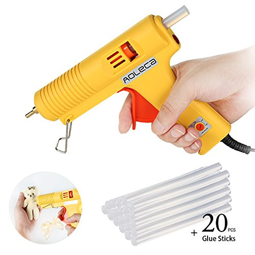 Hot Industrial Glue Gun Aoleca with 20pcs Glue Sticks 100W High Temperature Melting Glue Gun Kit Flexible Trigger for DIY Small Craft and Quick Repairs in Home and Office