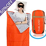 sleeping bag - FARLAND Lightweight Sleeping Bag& Portable Waterproof Envelope Bag With Compression Sack -Perfect For Summer Traveling, Camping, Hiking,Outdoor Activities(Mandarin Red / Left Zip)