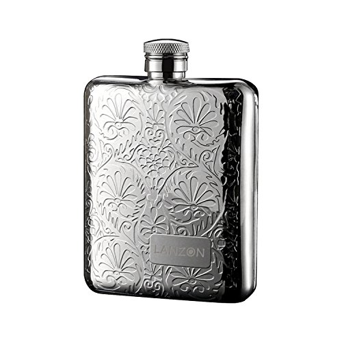 Stainless Flask - LANZON Hip Flask with Funnel, All 18/8 304 Food Grade Stainless Steel Curved Pocket Flask for Liquor | 6 OZ Capacity | Gift Boxed (Flower Pattern)