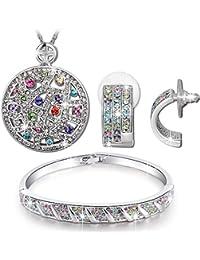 Qianse Circle Pendant Necklace Bangle Bracelet Earrings...