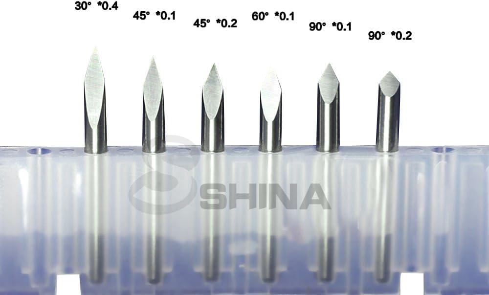 0.2mm 0.1mm 0.2mm0.3mm CED CNC Routeur pour sculpture jade bois et planche SHINA 5Pcs outil fraise de gravure pyramidales 1//8 3.175mm 20 Degr/é