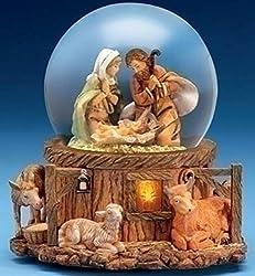 "Roman 7.5"" Fontanini Musical Lighted Nativity Stable Scene Christmas Snow Globe Glitterdome"