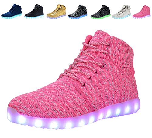 4088f891e57 Galleon - DEMANGO Led Light Up Shoes For Mens Womens High Top Flashing  Rechargeable Sneakers ,size 36, Pink