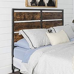 Bedroom Walker Edison Rustic Metal Slatted Queen Headboard Footboard Bed Frame Bedroom, Reclaimed Wood farmhouse headboards
