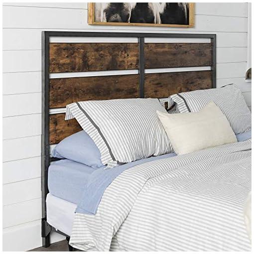 Bedroom Walker Edison Rustic Metal and Wood Slatted Queen Bed Headboard Footboard Bed Frame Bedroom, Queen, Reclaimed Wood farmhouse headboards