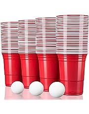 TRESKO® rode partybekers 100 stuks | beer pong party cups | 473 ml (16 oz) | bierpong bekers extra sterk | plastic bekers kunststof bekers kamperen