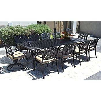 Amazon.com: Cast Aluminum Outdoor Patio Furniture 9 Piece ...