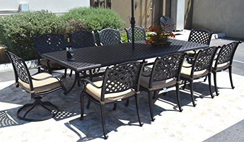 Nassau Cast Aluminum Powder Coated 11-piece Dining Set with 46″x120″ Rectangle Table – Antique Bronze Review