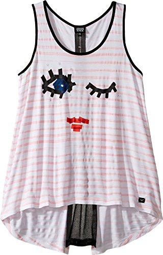 Price comparison product image Armani Junior Baby Girl's Funtastic Eyelash Logo Tank Top (Toddler/Little Kids/Big Kids) Striped Pink Tank Top