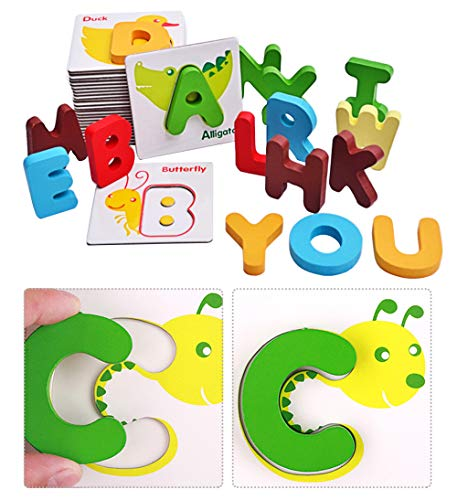 sdazz Animals Alphabet Cards | Wooden Jigsaw Puzzles 26 Pieces Alphabet Cards Preschool Educational Toy | Animal Color Cognition ABC Letter Learning Cardboard Toys for Toddlers (Animals Beginning With Each Letter Of The Alphabet)