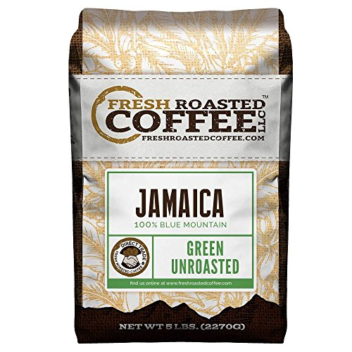 Fresh Roasted Coffee LLC, Green Unroasted 100% Jamaica Blue Mountain Coffee Beans, Direct Trade, 5 Pound Bag