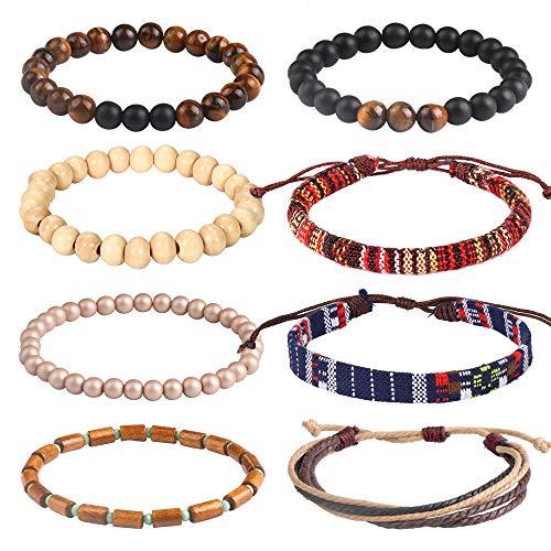 USA Annabel Friendship Chakra Tribal Leather Bracelet for Women Men-8PCS Wooden Bead Hemp Rope Boho Wood Hemp Bracelet Wristband]()