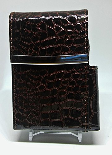 Marshals Brown Croc Leather Wrapped Metal Framed Cigarette Pack Holder