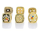 Gloral HIF Mens Set of 6 Pittsburgh Steelers Super Bowl Championship Replica Ring for Gifts Gold Without Box