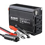 Suaoki 300W Power Inverter DC 12V to 110V AC Car Converter with 4.2A Dual USB Car Adapter and 2 AC Outlets Converter