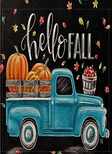 Selmad Hello Fall Garden Flag Pumpkin Farm Truck Double Sided Quote, Small Burlap Decorative House Yard Decoration, Autumn Leaves Harvest Farmhouse Country Seasonal Home Outdoor Vintage Décor 12 x 18