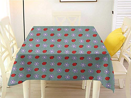 (Outdoor Square Tablecloth Ladybugs Bugs and Flower Pattern Flora and Fauna Design Diagonal Lilacs and Beetle Ornament Multicolor Western 60 x 60 Inch )