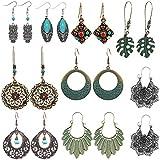 SUNNYOUTH 9 Pairs Vintage Drop Dangle Earrings Statement Bohemian National Style Turquoise Earrings Leaf Owl Long Dangle Earrings for Women Girls