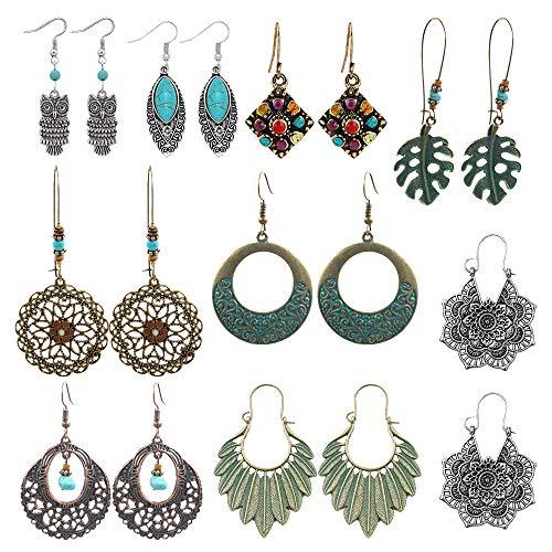 Turquoise Dangling Hook Earrings - SUNNYOUTH 9 Pairs Vintage Drop Dangle Earrings Statement Bohemian National Style Turquoise Earrings Leaf Owl Long Dangle Earrings for Women Girls