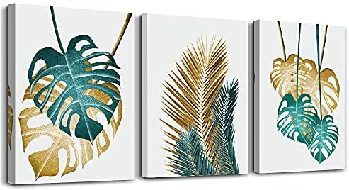 Canvas Wall Art For Living Room Family Wall Decorations For Bedroom Kitchen Dining Room Wall Decor Abstract Painting Leaves Wall Pictures Artwork Office Canvas Art Prints Bathroom Home Decor 3 Piece